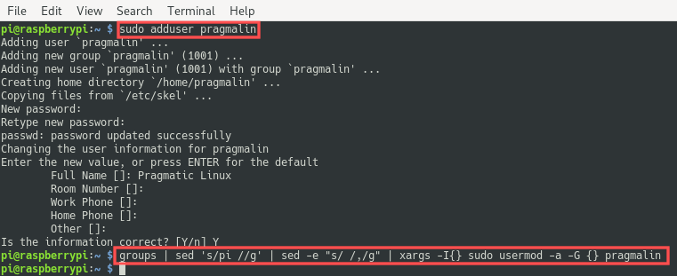 Terminal screenshot that explains how to add a new user and add it to the same groups as the pi user. Commands adduser and usermod were used - setup your Raspberry PI 4 as a headless server