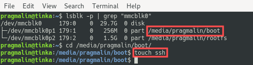Terminal screenshot showing you how to create the empty ssh file on the boot partition - setup your Raspberry PI 4 as a headless server