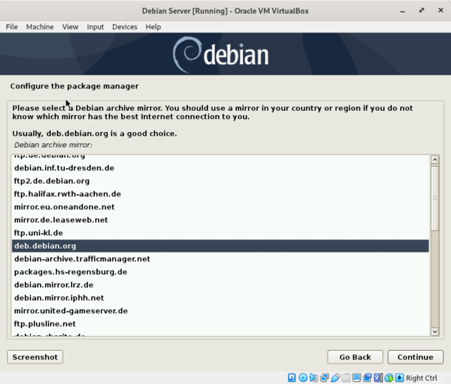 Select the Debian archive mirror