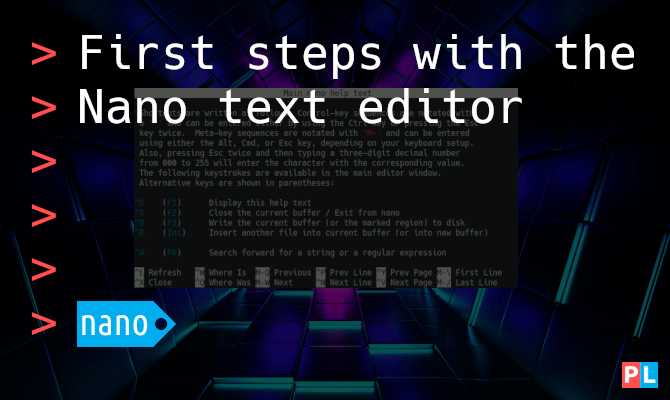 First steps with the Nano text editor