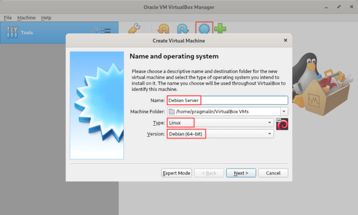 How to specify name and operating system for the virtual machine