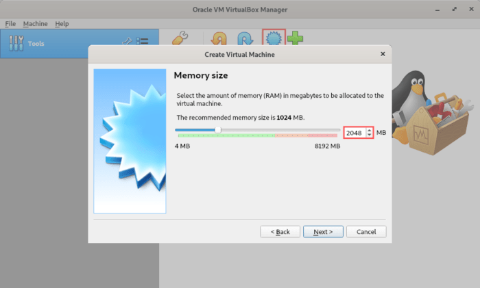 Illustrates how to configure the RAM for the virtual machine