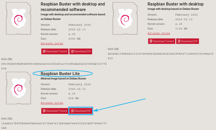 Image shows how to download Raspbian Lite
