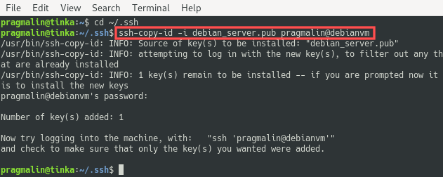 Terminal screenshot the explains how to copy SSH key to server with the help of the ssh-copy-id program.