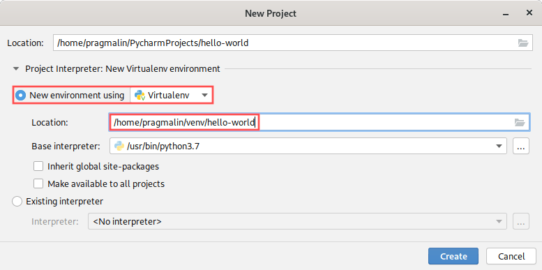 Screenshot of the new project wizard to illustrate the PyCharm virtual environment creation