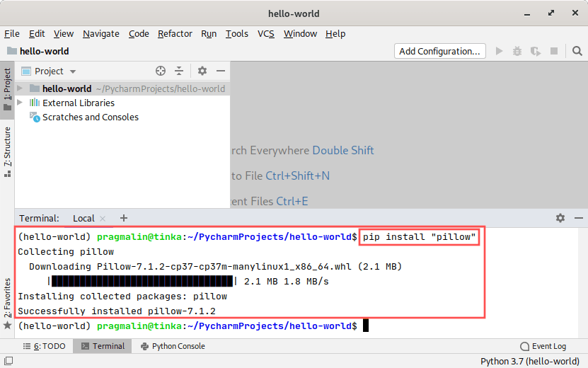 PyCharm screenshot that explains how to install the pillow package from PyPi with the help of pip