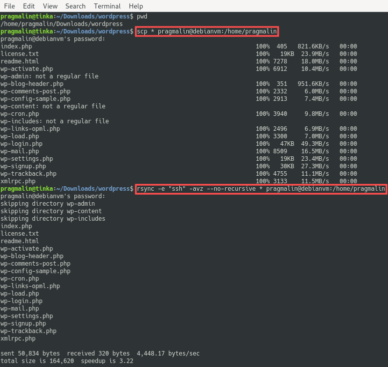 Terminal screenshot that shows the commands and their output for copying all files in a directory to a remove server via SSH.