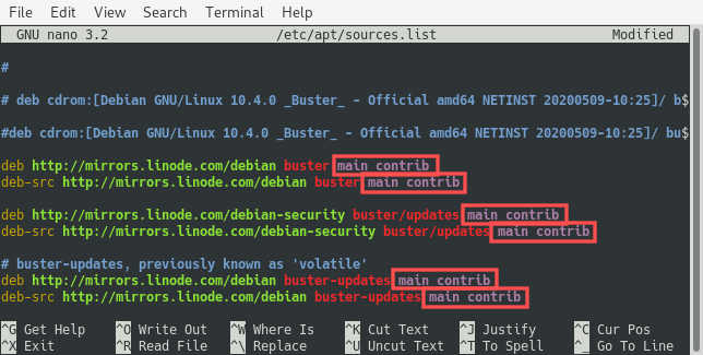 Screenshot of the nano editor editing /etc/apt/sources.list for enabling the Debian main and contrib repositories.