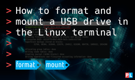 Feature image for the blog article about how to format and mount a USB drive in the Linux terminal