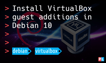 Feature image for the article that explains how to install the VirtualBox guest additions in Debian 10