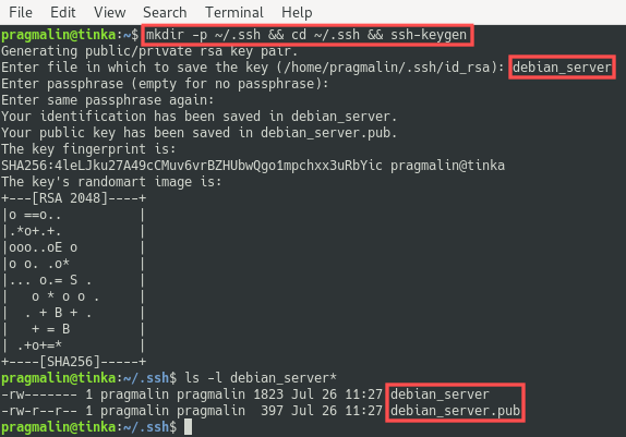 Terminal screenshot that shows the creation of a new SSH key pair with the help of the ssh-keygen command.
