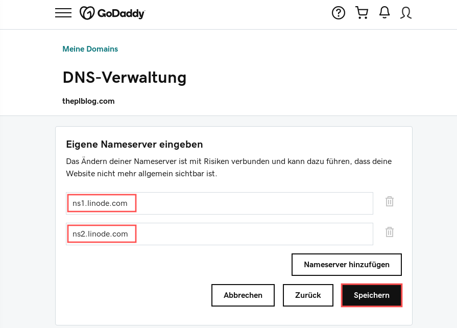 Screenshot of the GoDaddy website where you can enter the nameservers for the domain name. In this example, ns1.linode.com and ns2.linode.com are entered.