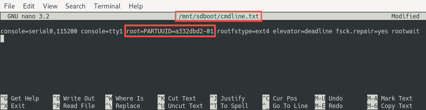 Screenshot of editing the cmdline.txt file in Nano to change the PARTUUID of the root file system. It is set to the PARTUUID of the USB drive partition that now holds the root file system of the Raspberry PI.