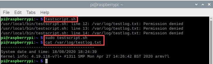Terminal screenshot that shows how you run the test shell script. It also highlights that you need to run it with sudo for root privileges.