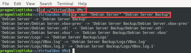 Terminal screenshot that shows the command for creating a backup of a VirtualBox virtual machine.