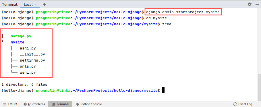 PyCharm terminal window screenshot that shows the command for creating a new Django project with the help of the django-admin utility.