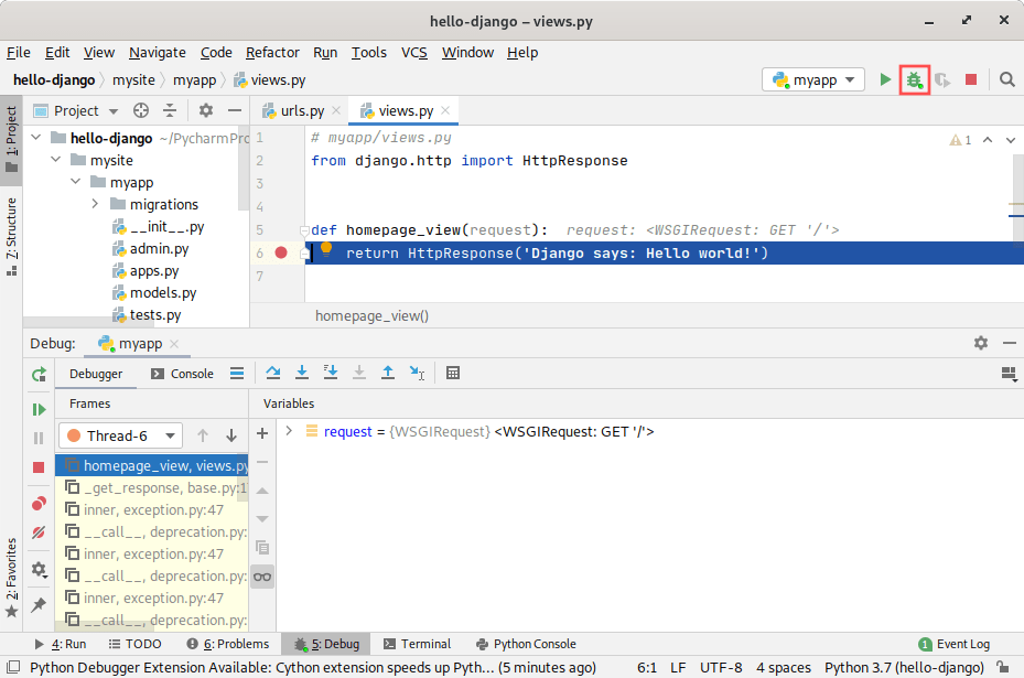 PyCharm screenshot showing an active debug session of a Django application. It highlights the toolbar button with the bug on it for starting the debug session. It also shows how to set a breakpoint.