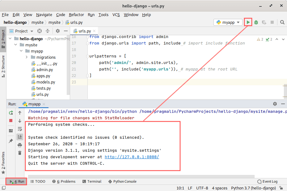 PyCharm screenshot that highlight how you can debug your Django application.