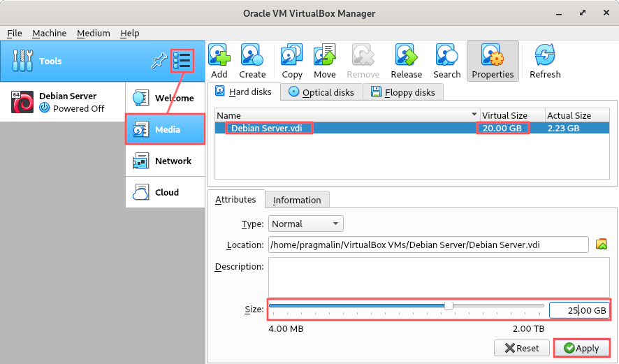Screenshot of VirtualBox which lists the media, including hard disks of all virtual machine. It explain how you can increase the VDI disk size of the virtual machine.