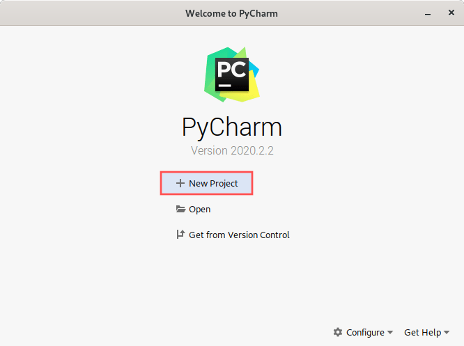 PyCharm screenshot of the startup dialog. It highlight how to start a new project.