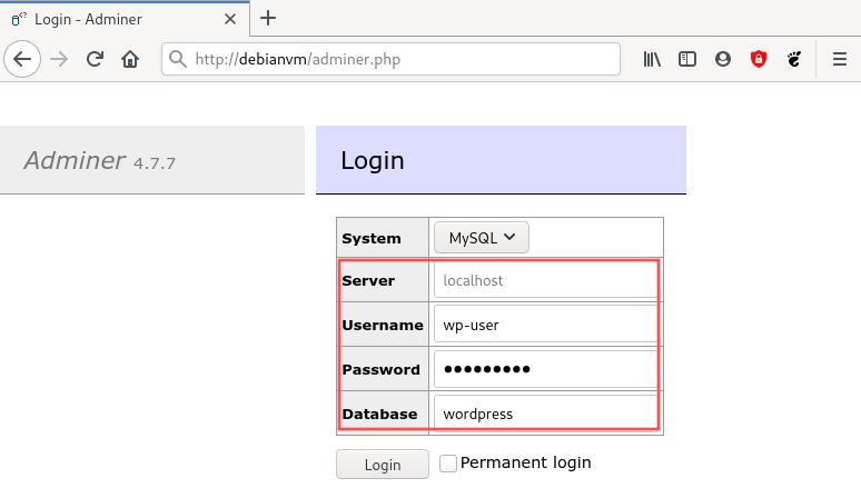 Browser screenshot that shows how to login to the Adminer page.