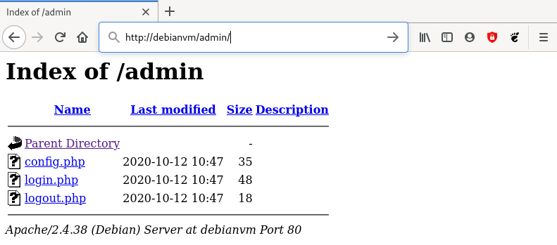 Browser screenshot that show what happens if directory browsing is allowed in the Apache HTTP server configuration.