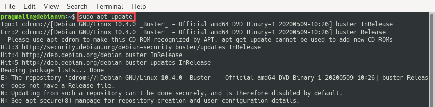 Terminal screenshot after running sudo apt update for the first time. It reports an error because the installation DVD is no longer present.