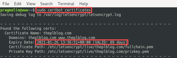 Terminal screenshot that shows how you can check when the Let's Encrypt SSL certificate expires on your Debian server. The command certbot certificates was issues for this.