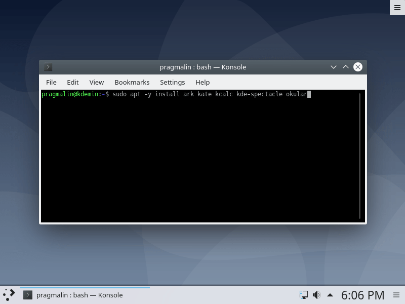 Screenshot of installing individual KDE specific desktop applications with apt from the terminal.