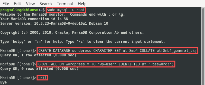 Terminal screenshot that highlights how you can create a MySQL database and user.