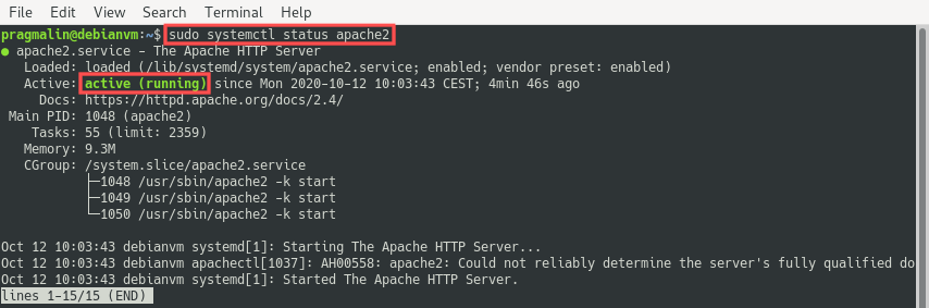Output of the systemctl status apache2 command to verify that the Apache HTTP server is up and running. With the HTTP server running, we completed the first step about how to install a LAMP stack on Debian 10.