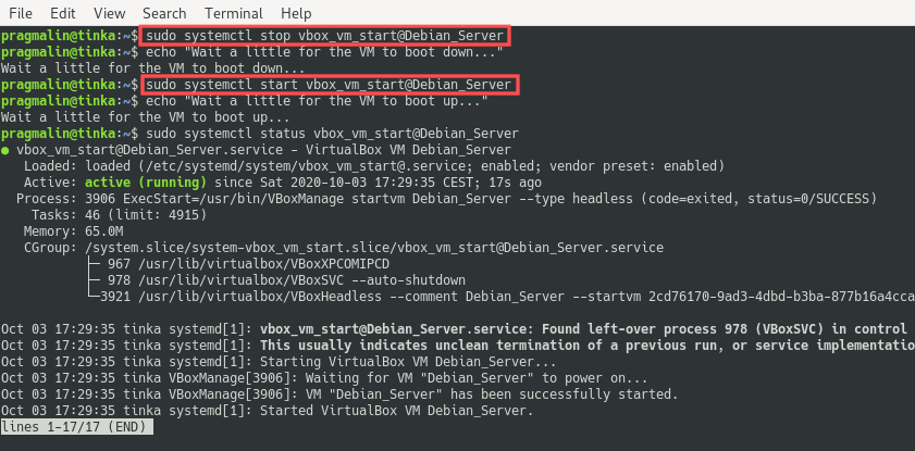 Terminal screenshot where the systemctl command is used for rebooting a VirtualBox VM that was started by Systemd on PC boot.