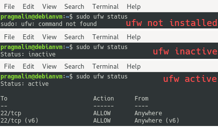 Output of the ufw status command that helps you determine if you have the uncomplicated firewall installed, inactive or active.