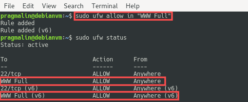 Output of the ufw status command that shows what it looks like after opening the firewall to allow incoming connections on ports 80 and 443. These two ports are referred to as WWW Full. This firewall configuration is a prerequisite for the install of the LAMP stack on the Debian 10 server.