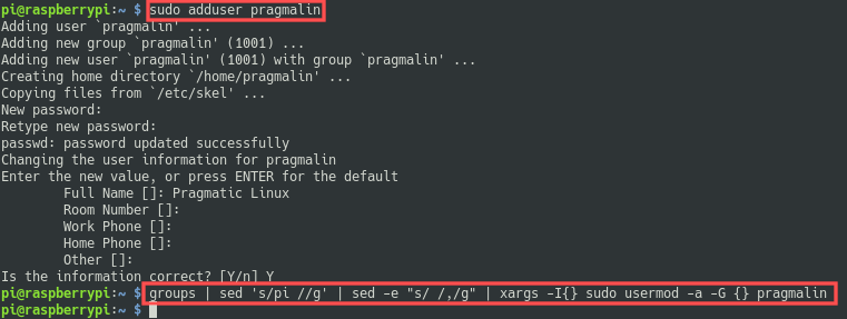 Terminal screenshot that shows how to add a new user account on your Raspberry PI and add it to the same groups as the default pi user.