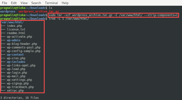 Terminal screenshot that shows how to extract a tarball using the --strip-components=1 parameter to skip the creation of the root directory inside the archive while extracting.