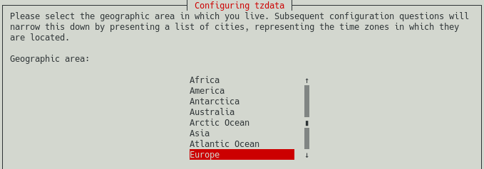raspi-config screenshot of selecting the geographic area for the time zone configuration. This is step 3.