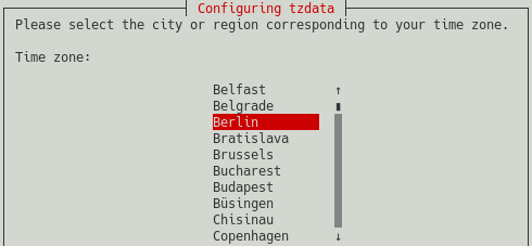 raspi-config screenshot showing you how to select the city or region corresponding to your time zone. This is the last step in configuring the time zone for your Raspberry PI.