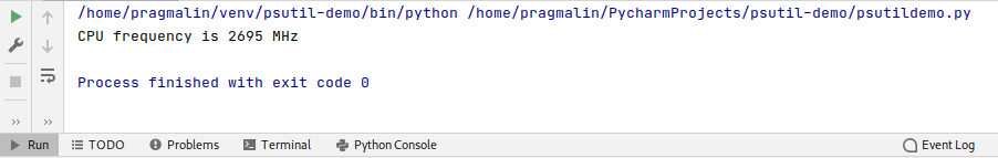 Screenshot of the PyCharm run window that shows the output of the function for retrieving the CPU frequency in MHz.