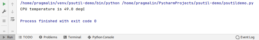 Run window screenshot in PyCharm that shows the output of the test program, reporting the current CPU temperature.