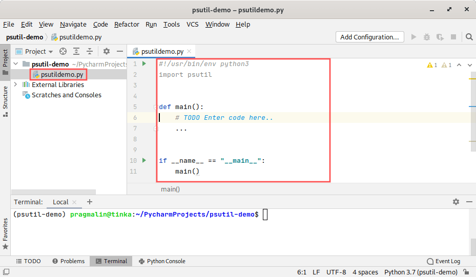 PyCharm screenshot that shows how to create a new Python file and enter the framework code for the test program.