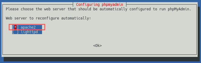 Screenshot of the phpMyAdmin installer that shows how to select apache2 as the web server to automatically reconfigure.