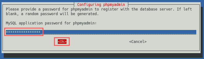 Screenshot of the phpMyAdmin installer that shows how to enter the password for the default phpmyadmin user account.