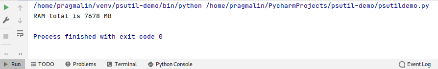 Python test program output that shows how to obtain the total amount of RAM installed on the system.