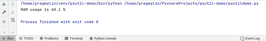 Python test program output that shows how to reports the current RAM usage as a percentage.