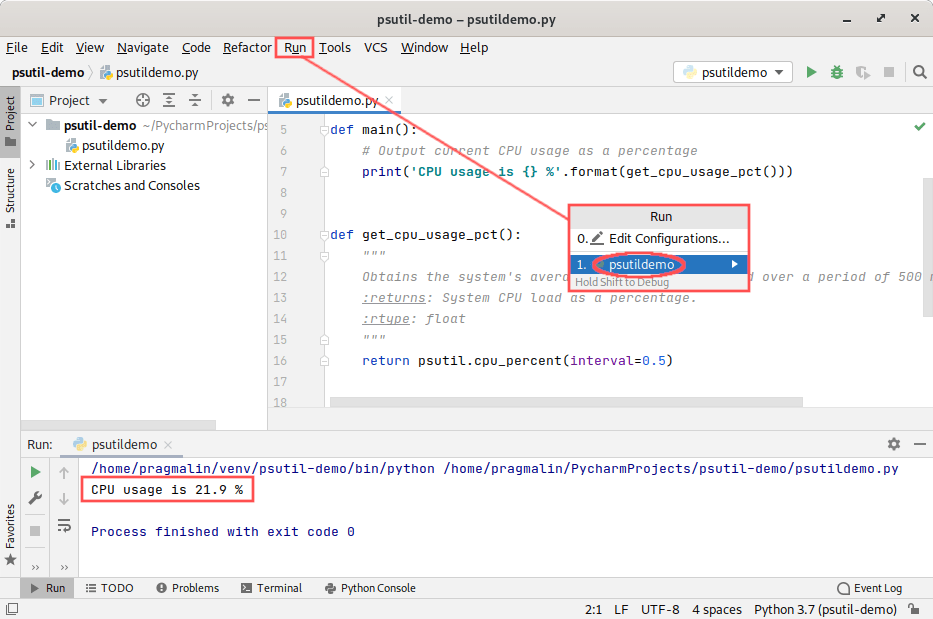 Screenshot of how to run the test program. It demonstrates how to obtain the CPU usage, with the help of PsUtil, from your own Python program.