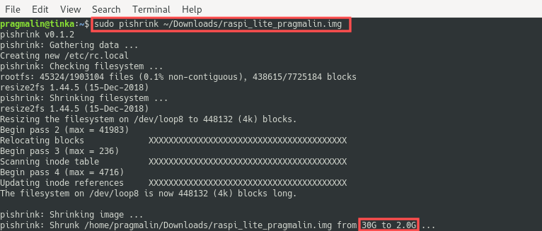 Terminal screenshot of using the PiShrink Bash-script on Linux for shrinking the Raspberry PI root file system, contained in the image file that we just cloned.
