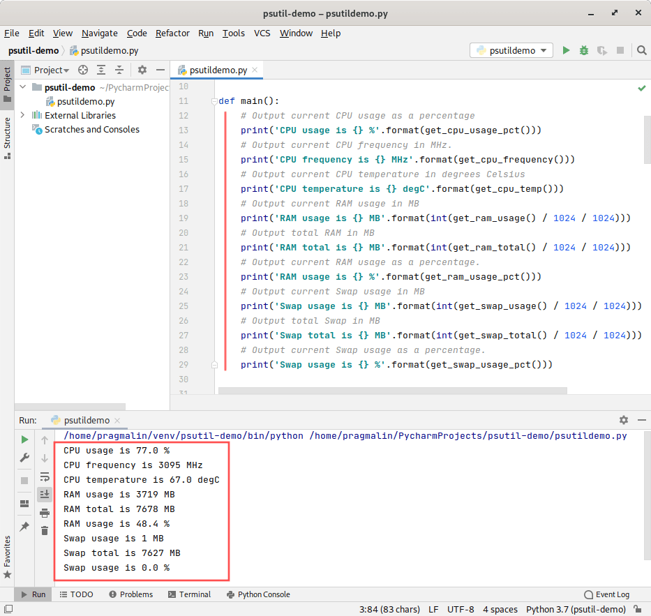 PyCharm screenshot that shows the test program. It demonstrates how to use the PsUtil package in your own Python program, for reading the CPU and RAM usage of your system.