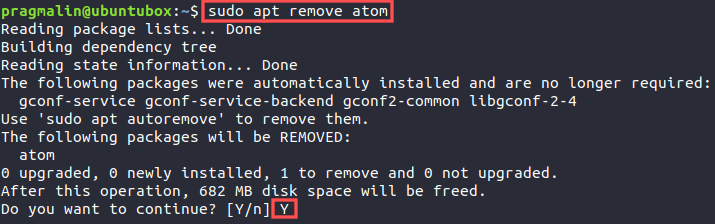 Terminal screenshot that shows how to remove a previously installed DEB package with APT.