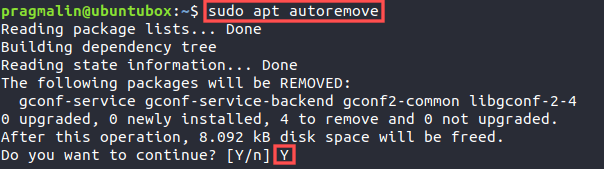 Terminal screenshot that shows how to run the APT autoremove command for removing package dependencies that are no longer needed on your system.